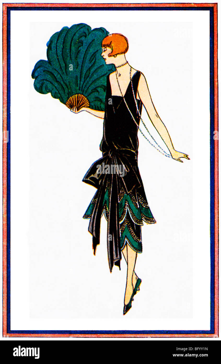 Brandt 1925 Fashion Illustration Of An Art Deco Black Satin Frock Stock Photo Alamy