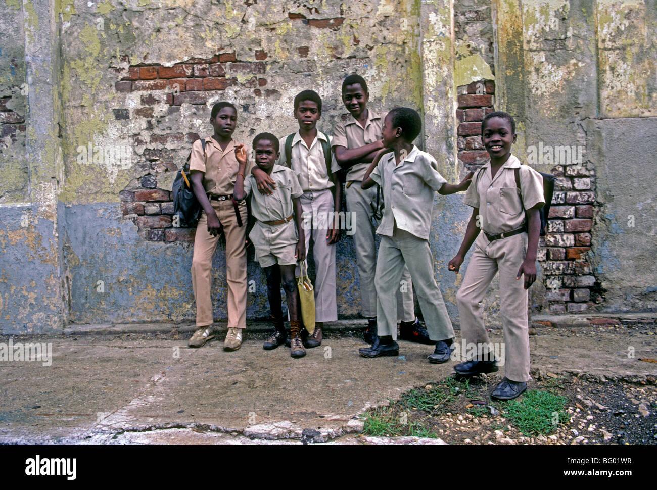 Jamaican boys, schoolboys, schoolchildren, students, elementary school, Spanish Town, Jamaica, Caribbean, West Indies - Stock Image