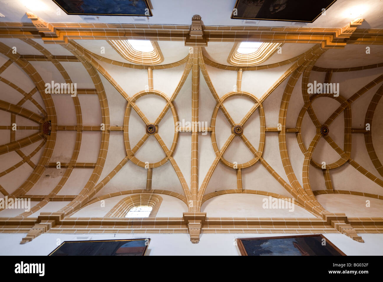 vaulting of Chapter House Cartuja de Granada, Granada Charterhouse, Granada, Andalusia, Spain - Stock Image