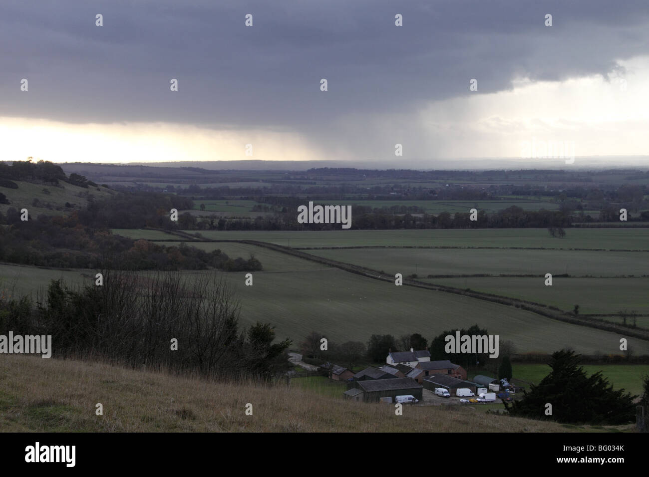 Rain cloud over the Chilterns Oxfordshire November 2009 - Stock Image