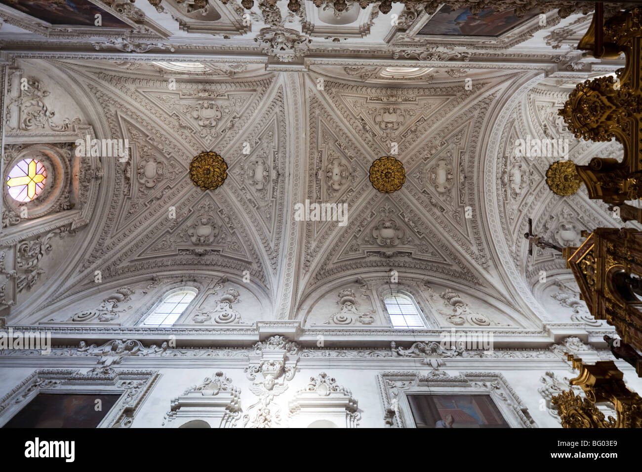vaulting of nave of church, Cartuja de Granada, Granada Charterhouse, Granada, Andalusia, Spain - Stock Image