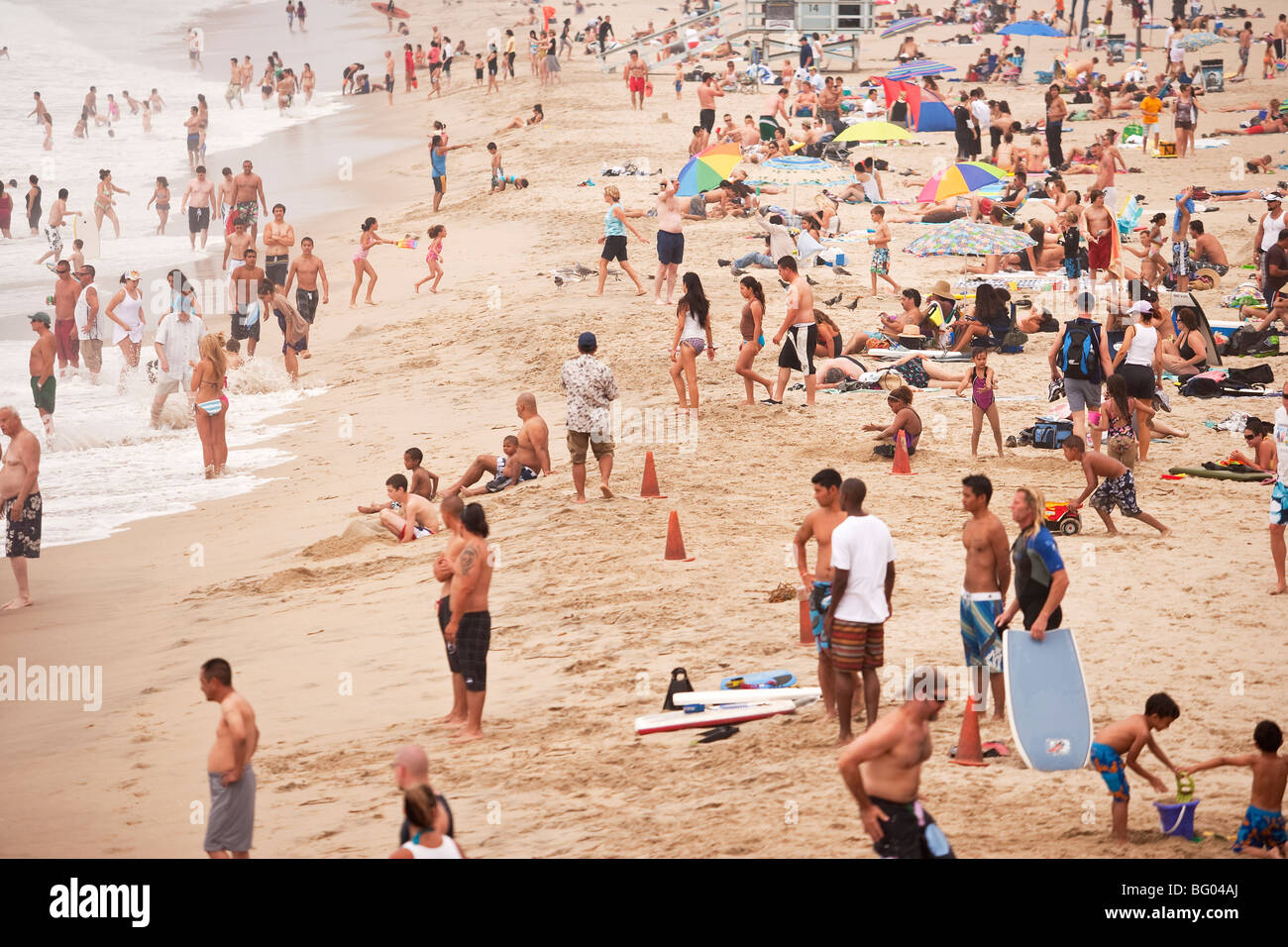 crowd of people at Manhattan Beach, California, United States of America - Stock Image