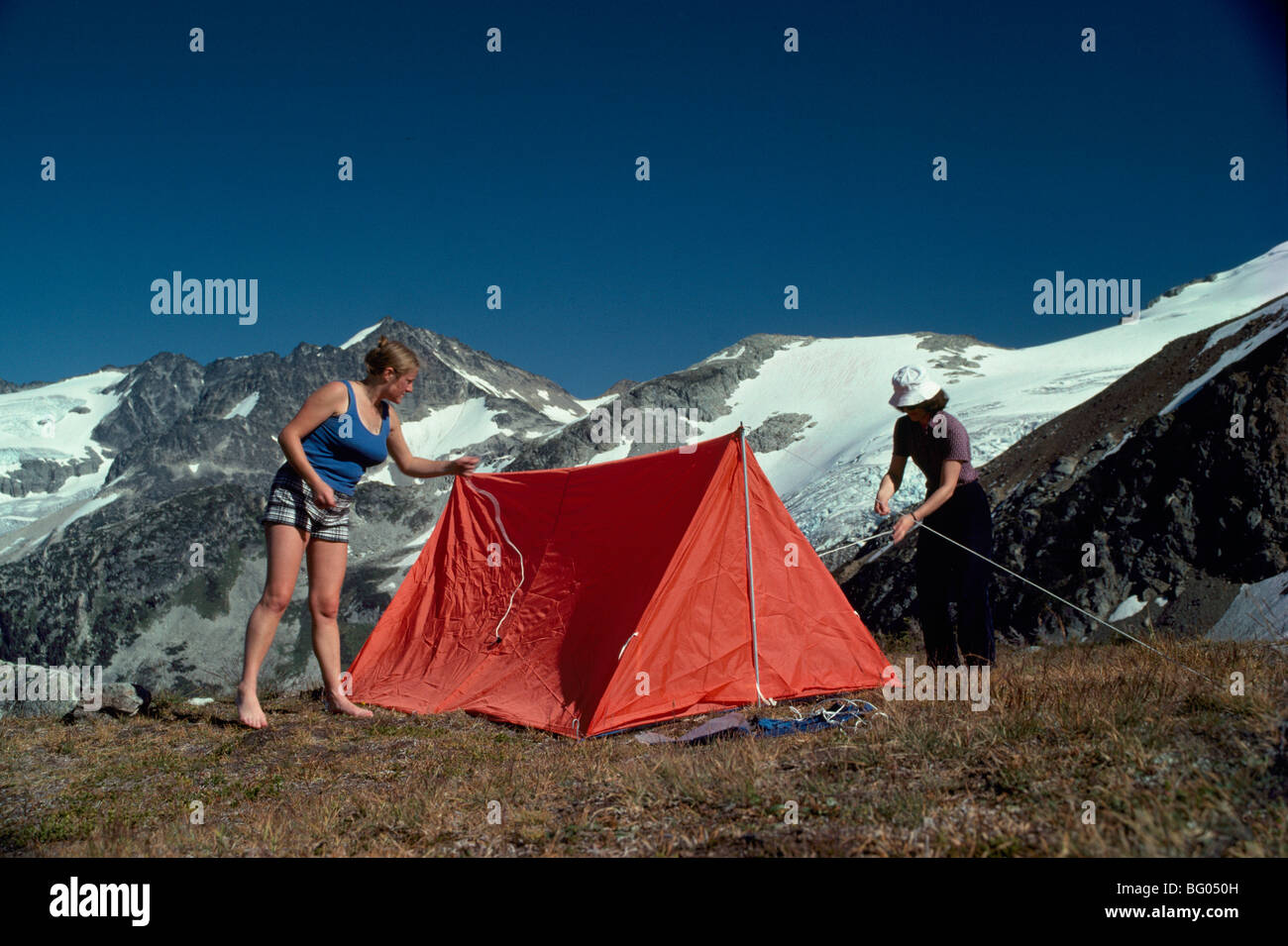 Wilderness C&ing C&ers setting up Tent in Mountains Garibaldi Provincial Park near Whistler BC British Columbia Canada & Wilderness Camping Campers setting up Tent in Mountains Garibaldi ...