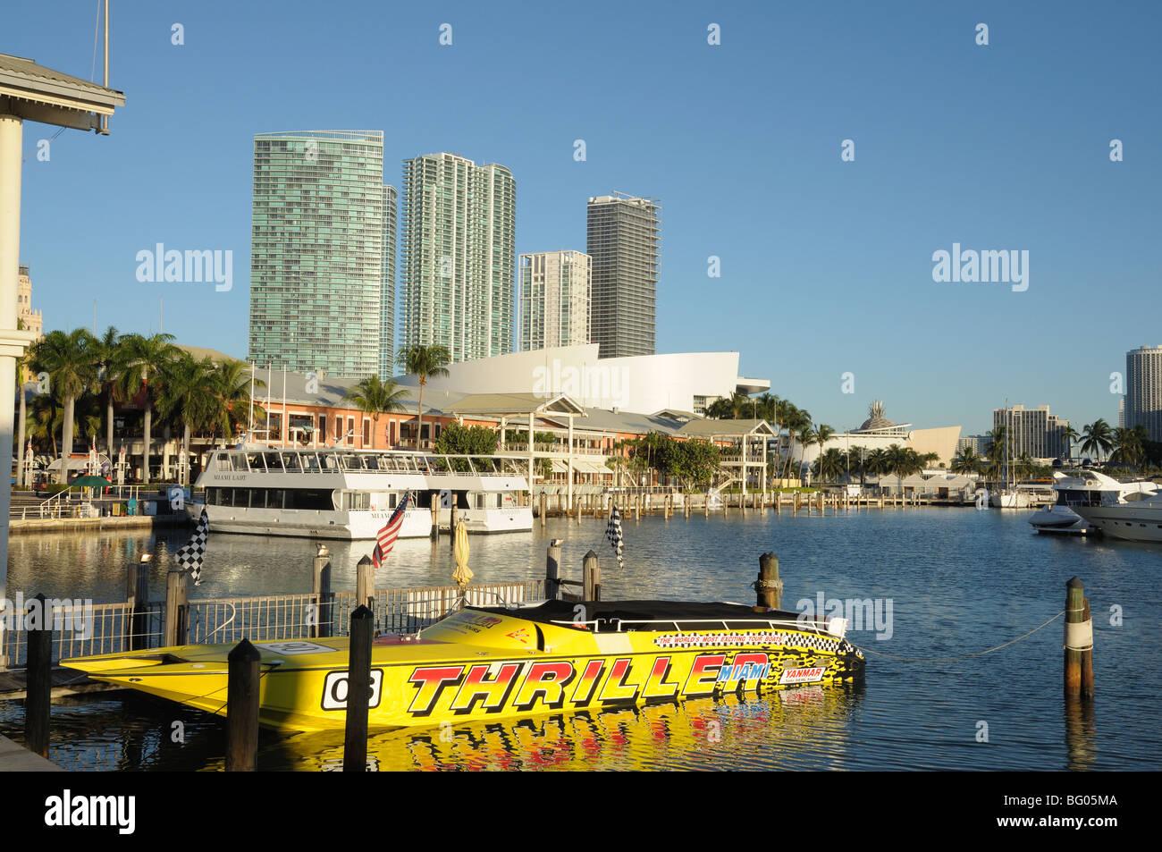 Yellow speedboat at the Bayside Marina, Downtown Miami, Florida USA Stock Photo