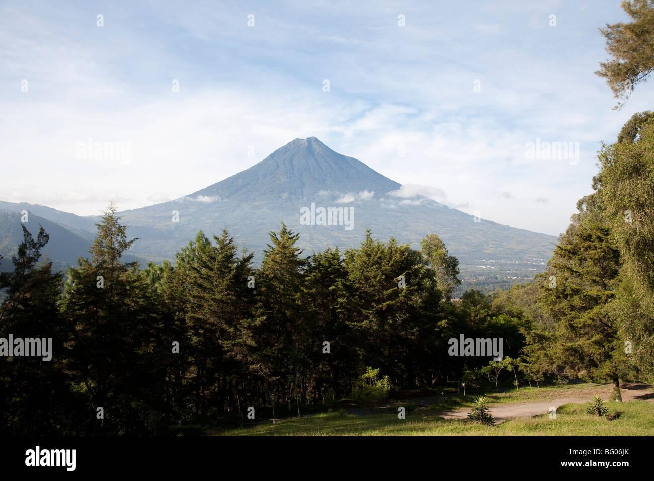 Volcan Agua seen from the cerro de la cruz viewpoint in Antigua Guatemala. - Stock Image
