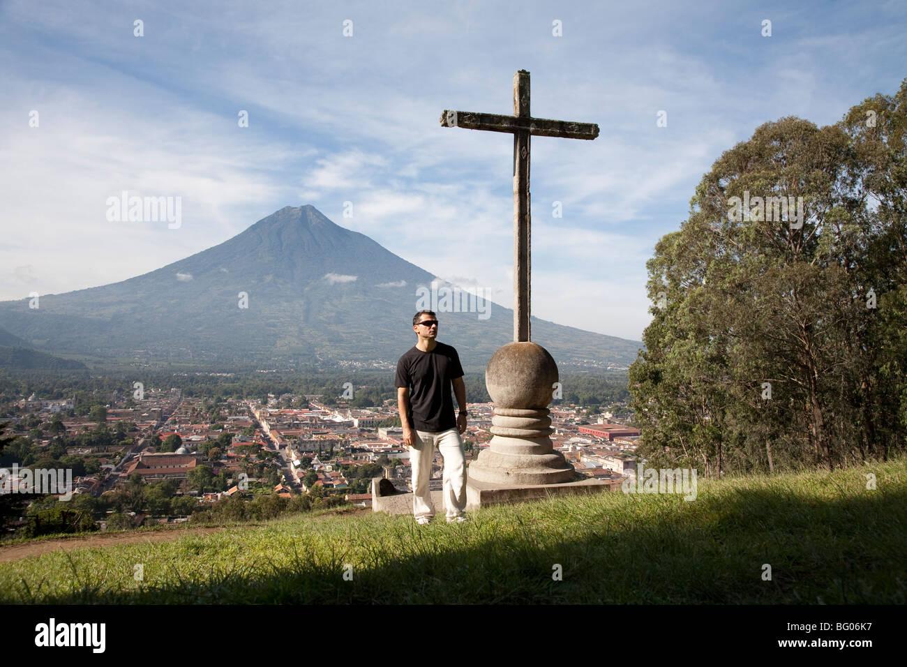 Volcan Agua and the landmark Cerro de la Cruz viewpoint and view over Antigua Guatemala. - Stock Image