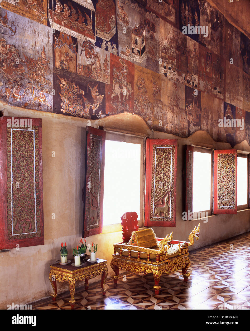 19th century temple murals at Wat Bo, Siem Reap, Cambodia, Indochina, Southeast Asia, Asia - Stock Image