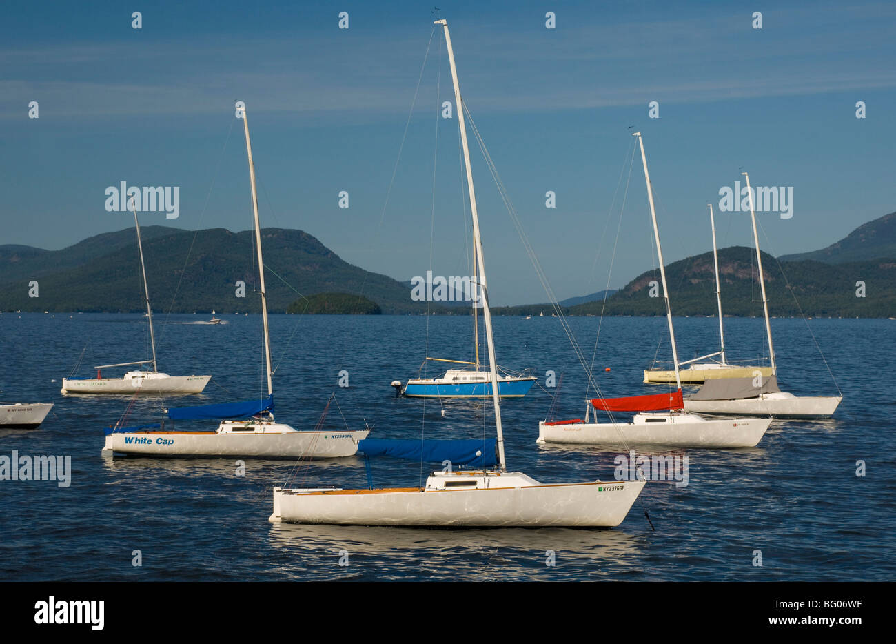 f48ff464ebb Sailboats moored in Lake George with Dome Island in the background ...