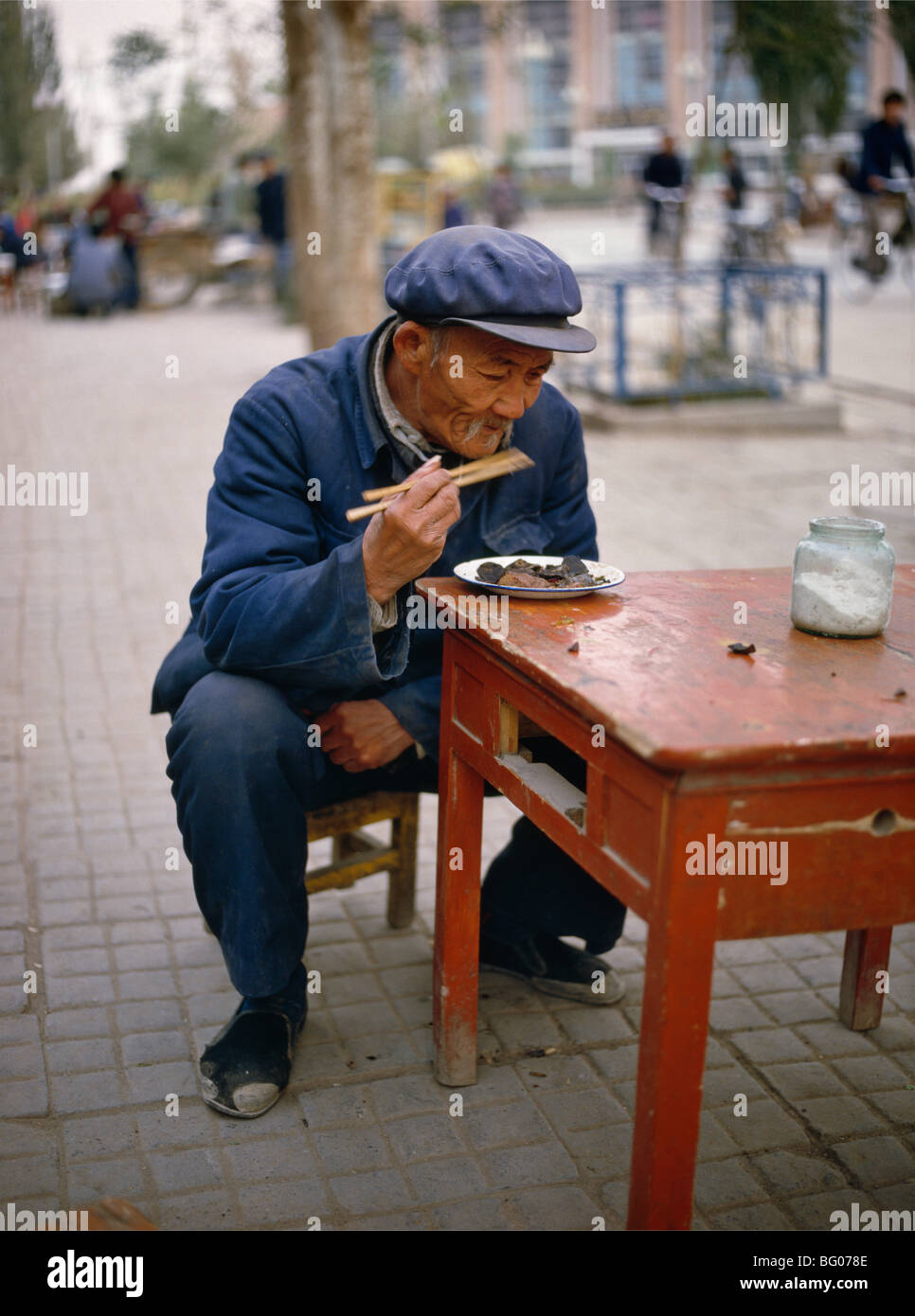 Street restaurant in Dunhuang. Gansu province, China, Asia - Stock Image