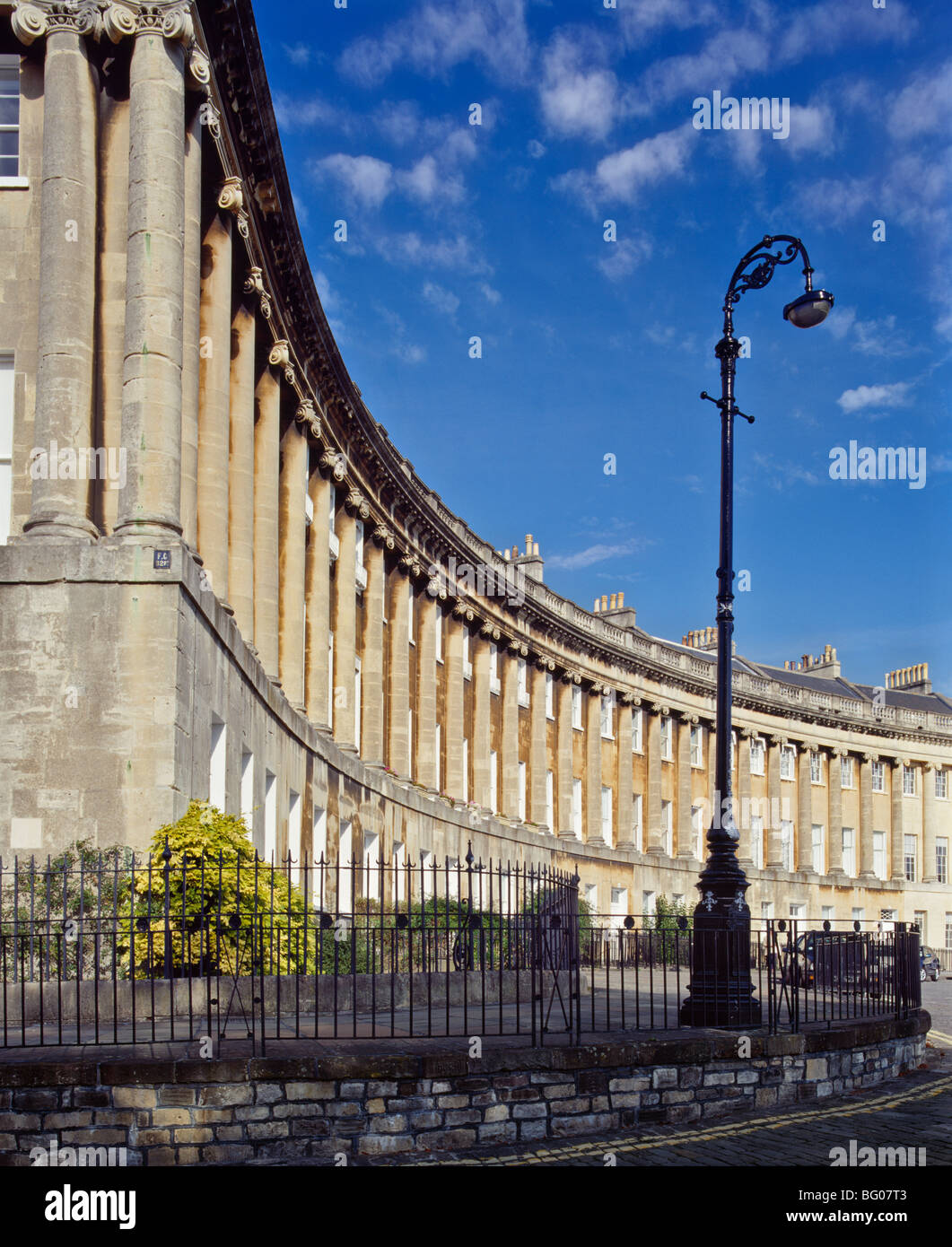 The Royal Crescent designed by John Wood the Younger and built 1767-74 Bath, Avon, England, United Kingdom - Stock Image