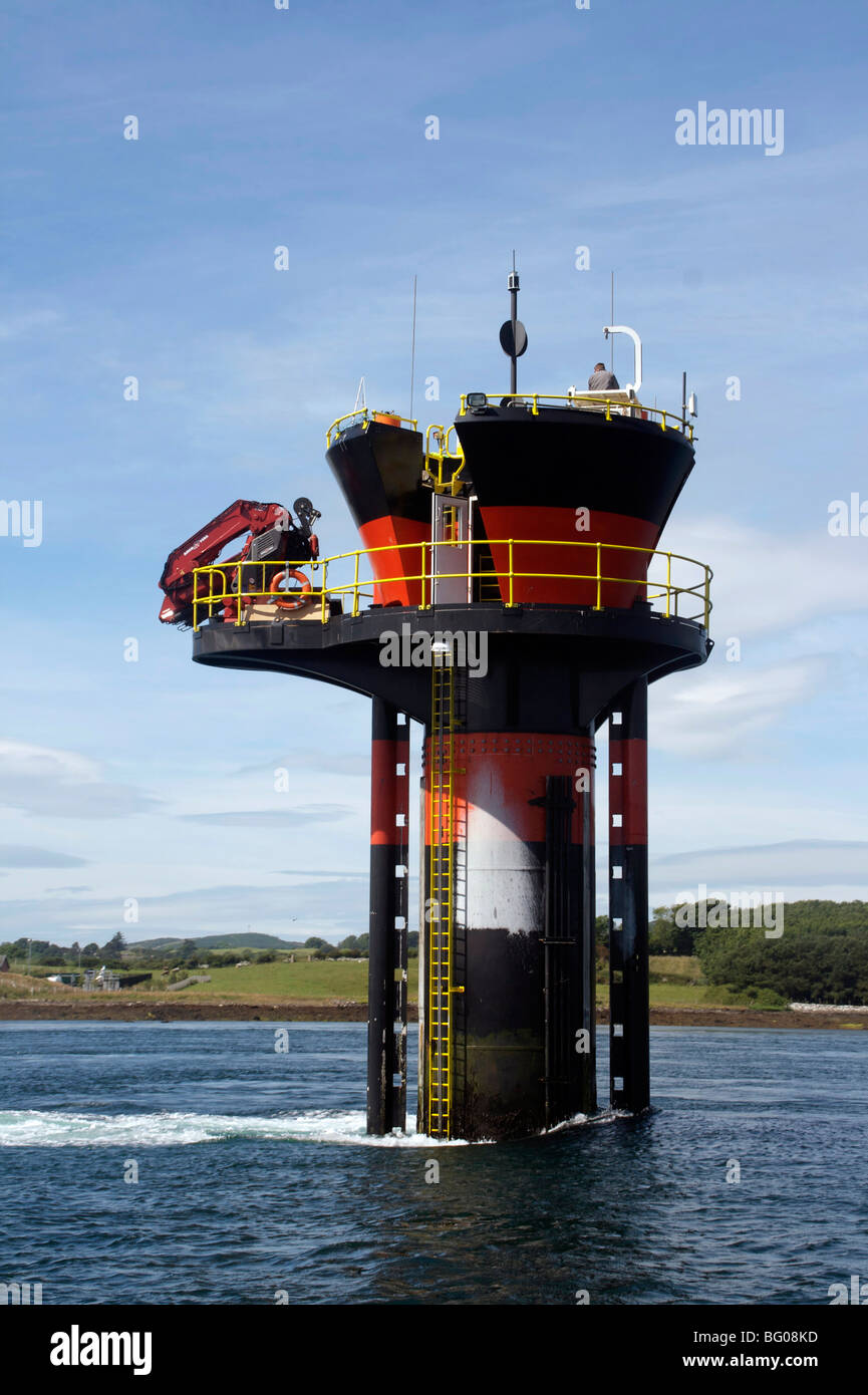 Experimental tidal generator, Strangford Lough, County Down, Ulster, Northern Ireland, United Kingdom, Europe - Stock Image