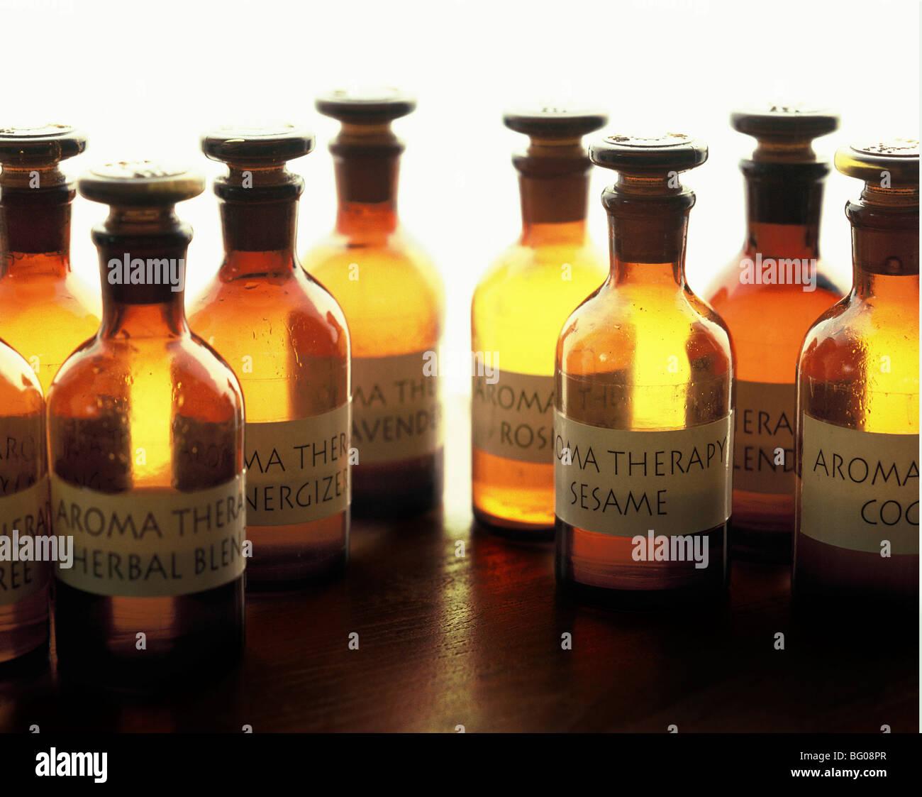 Aroma oil bottles - Stock Image