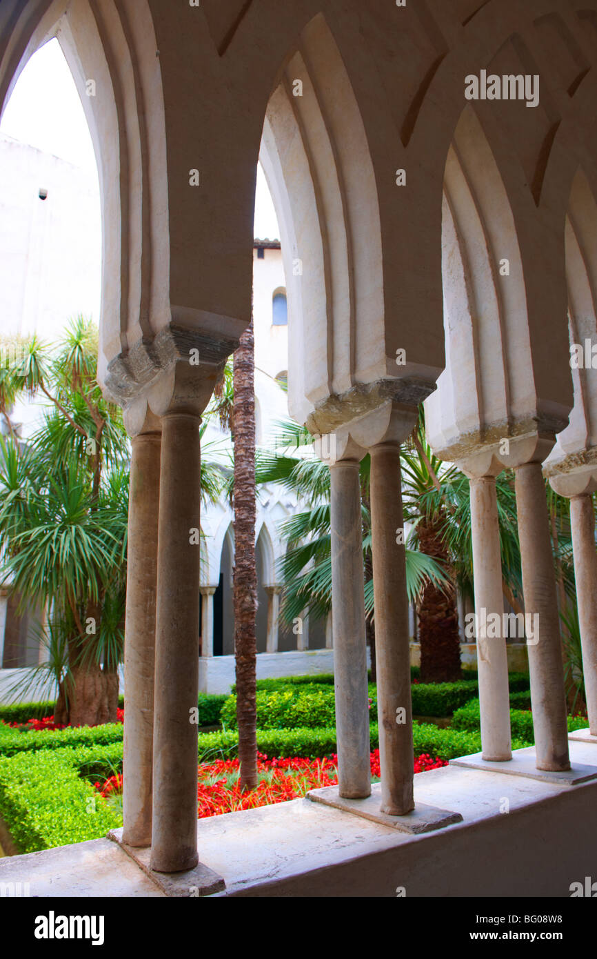 The slender columns of the morish style cloisters of the Amalfi Cathedral, Italy - Stock Image