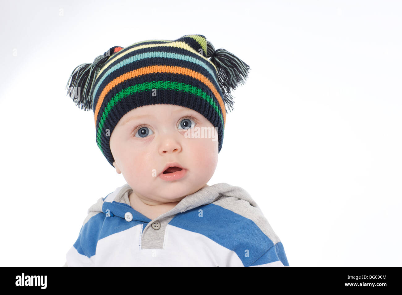 beautiful cute caucasion 6 month old baby boy with ski hat on  6cc5a3fd6a9