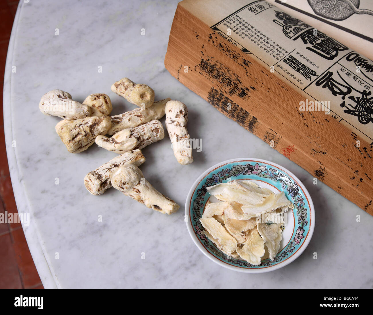 Dong Quai, traditional Chinese Medicine ingredient, female ginseng because of its balancing effect on the female - Stock Image