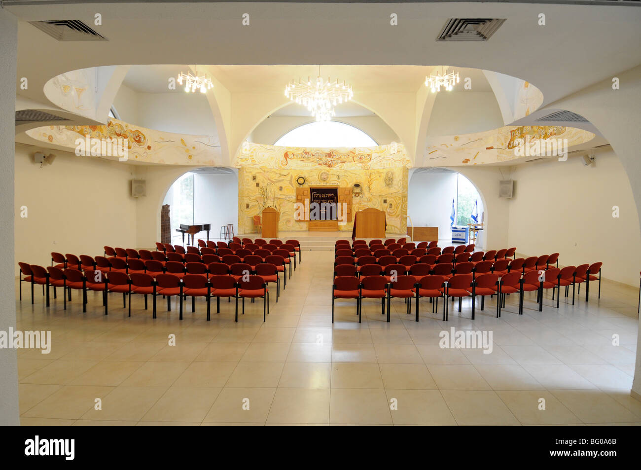 Israel, Tel Aviv, Beit Daniel, Tel Aviv's first Reform Synagogue the empty prayer hall - Stock Image