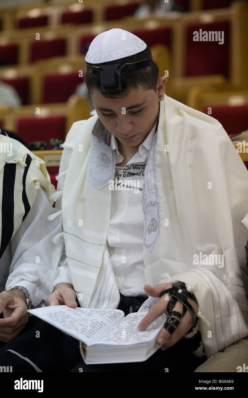 Israel, Tel Aviv, Beit Daniel, Tel Aviv's first Reform Synagogue Bar Mitzvah ceremony - Stock Image