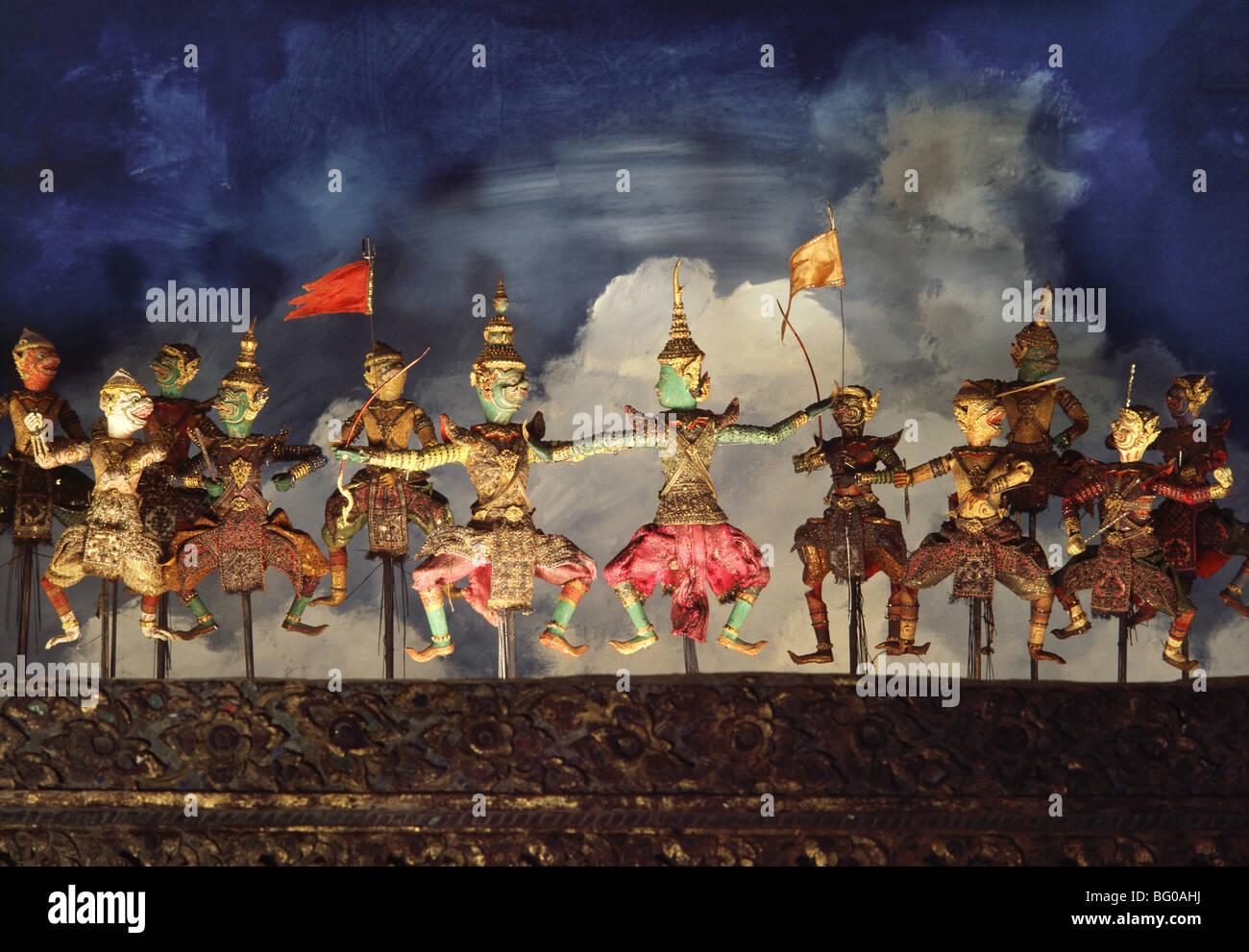 Puppets for Thai puppetry (hun lakhon lek), Bangkok National Museum, Bangkok, Thailand, Southeast Asia, Asia - Stock Image