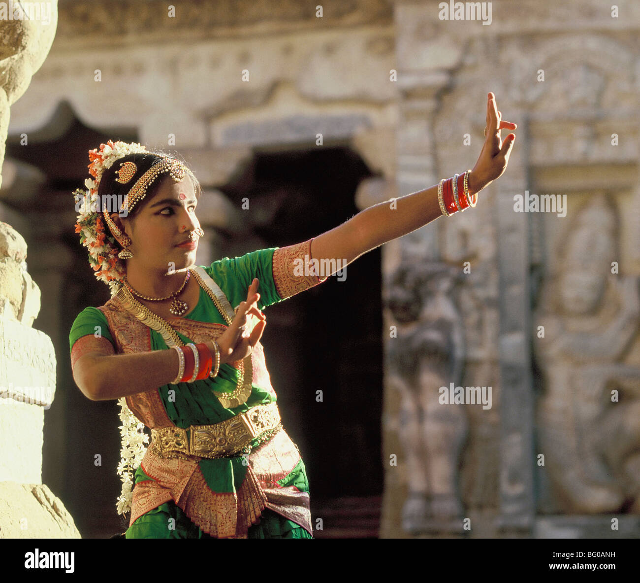 Bharatanatyam, popular South Indian dance, Kanchipuram, Tamil Nadu, India, Asia - Stock Image