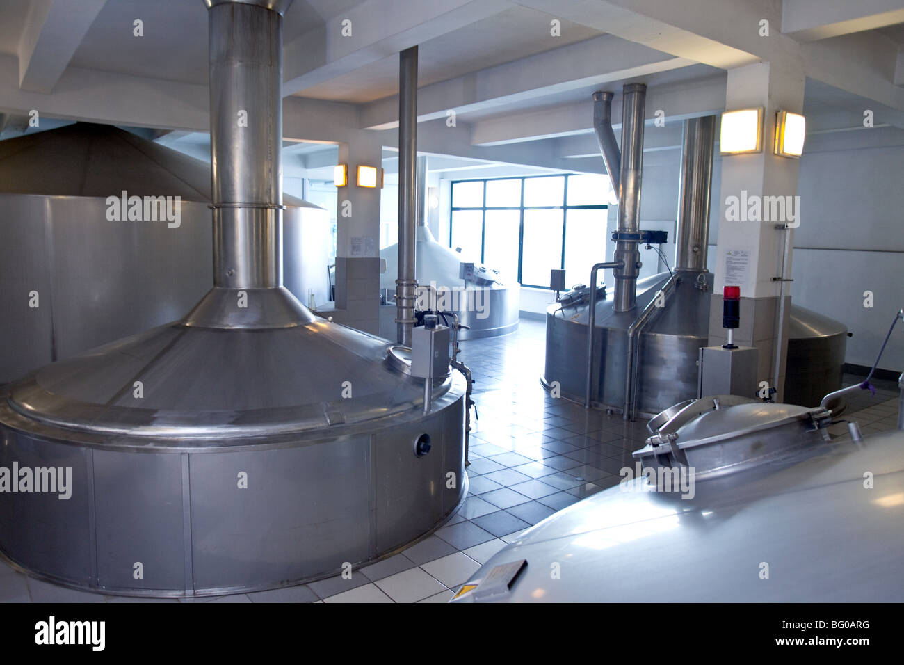 Modern Beer Brewing Kettle In A Brewery In Poland.
