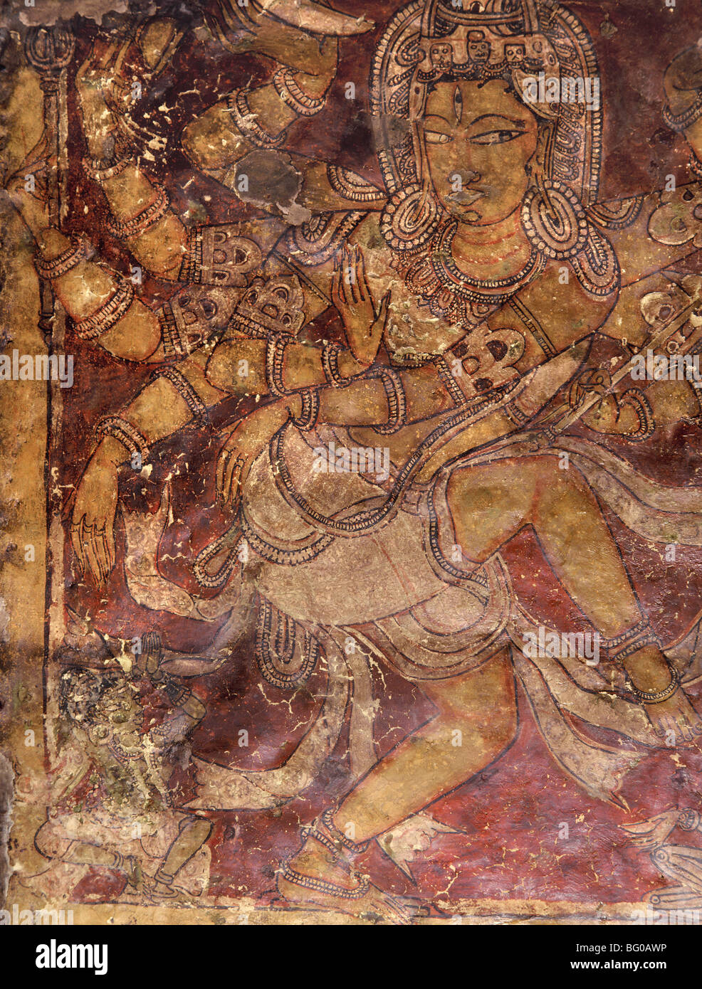 Shiva mural in the Kailasanatha Temple, dating from the 8th century AD, Ellora, Maharashtra, India, Asia Stock Photo