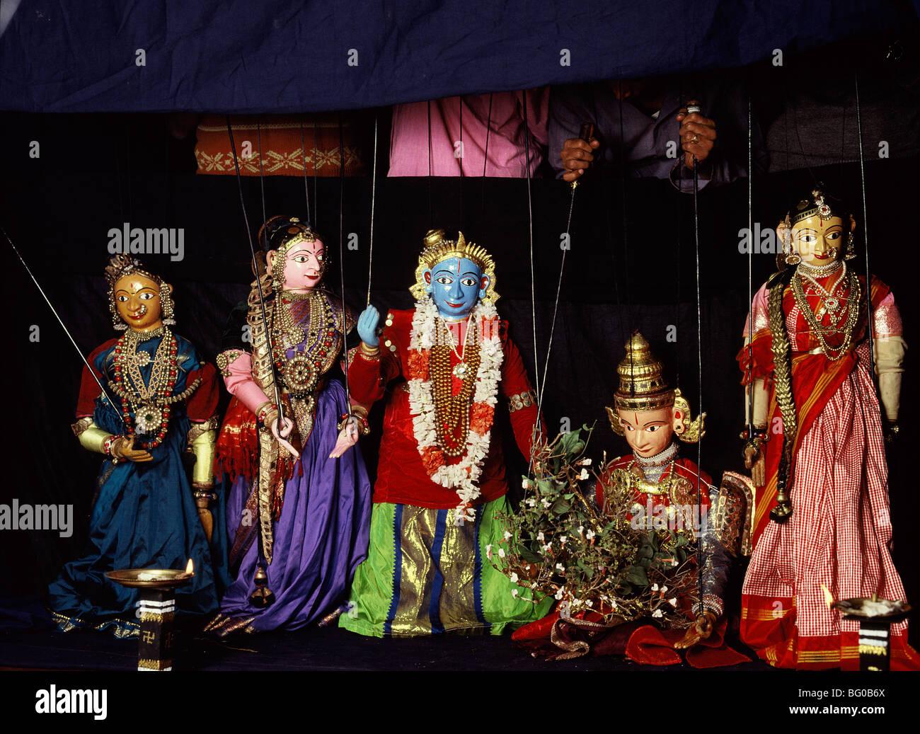 Rod puppets in Karnataka, India, Asia - Stock Image
