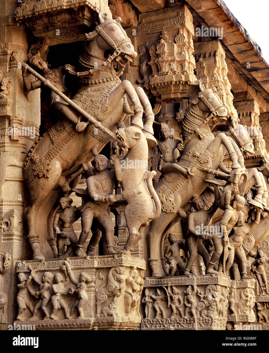 Detail of the pillared hall with horses from Srirangam temple, also known as Thiruvarangam, Tamil Nadu, India, Asia - Stock Image