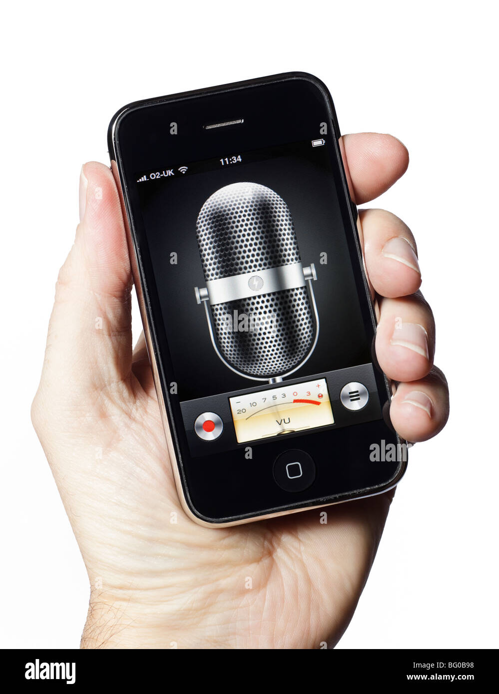Microphone recording audio app on a smartphone smart phone mobile phone - Stock Image