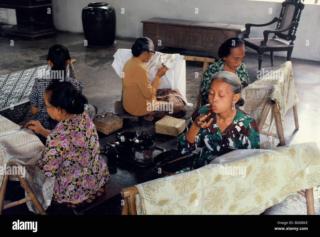 Women preparing batik for painting in Solo, Java, Indonesia, Southeast Asia, Asia - Stock Image