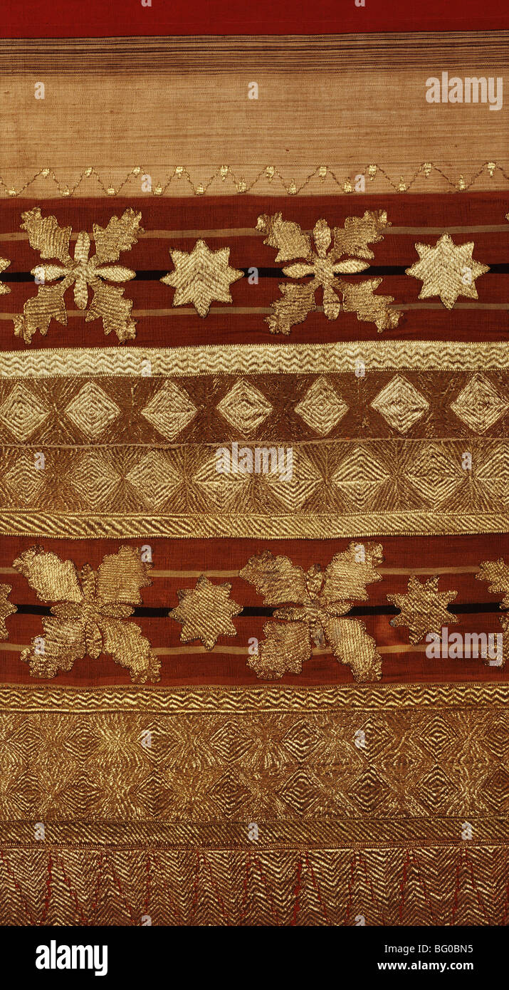 Detail of ceremonial costume woven with gold and metallic thread from the Regent Collection, from South Sumatra, - Stock Image
