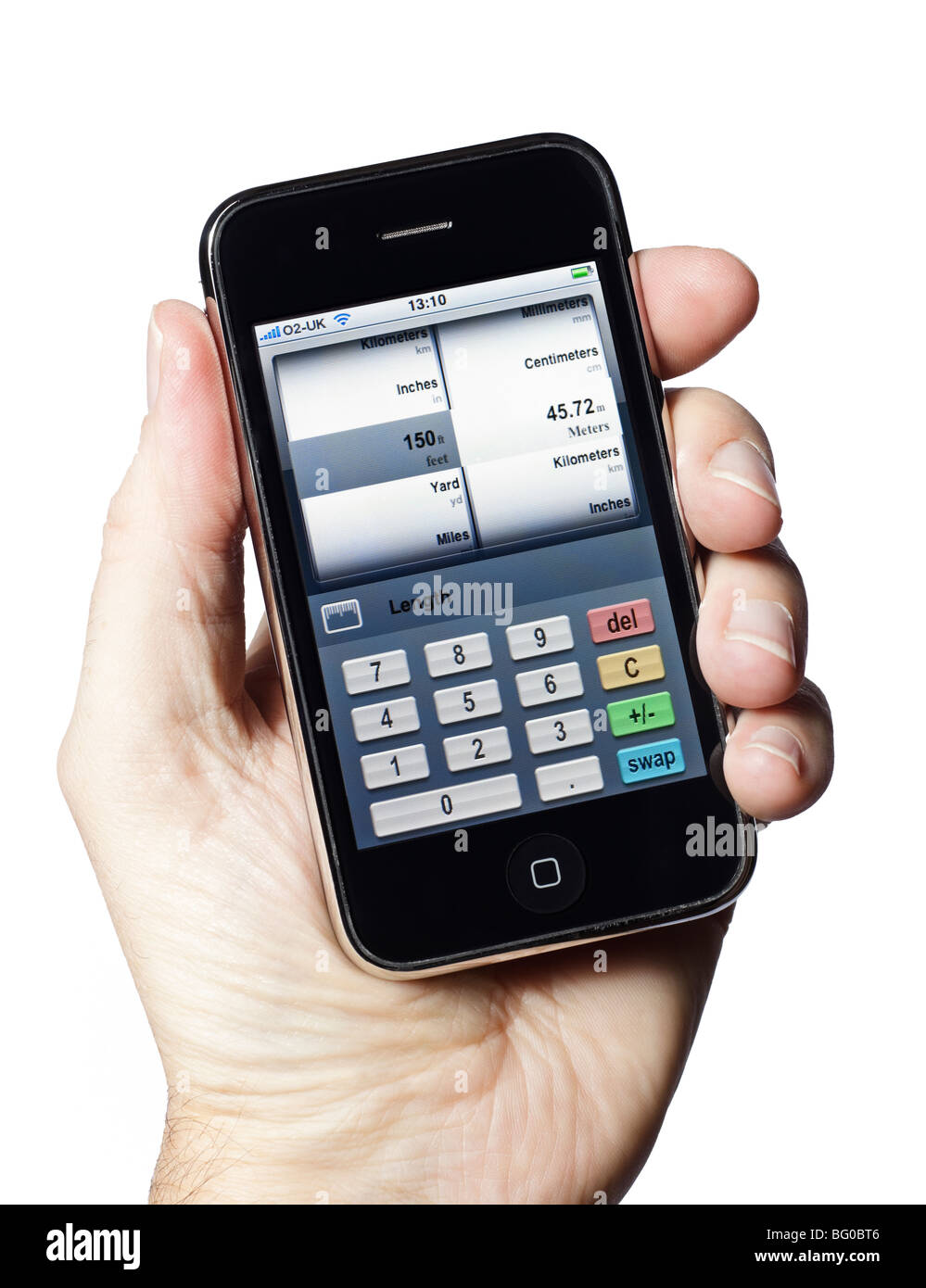 iPhone smartphone smart phone mobile phone with a unit conversion app - Stock Image