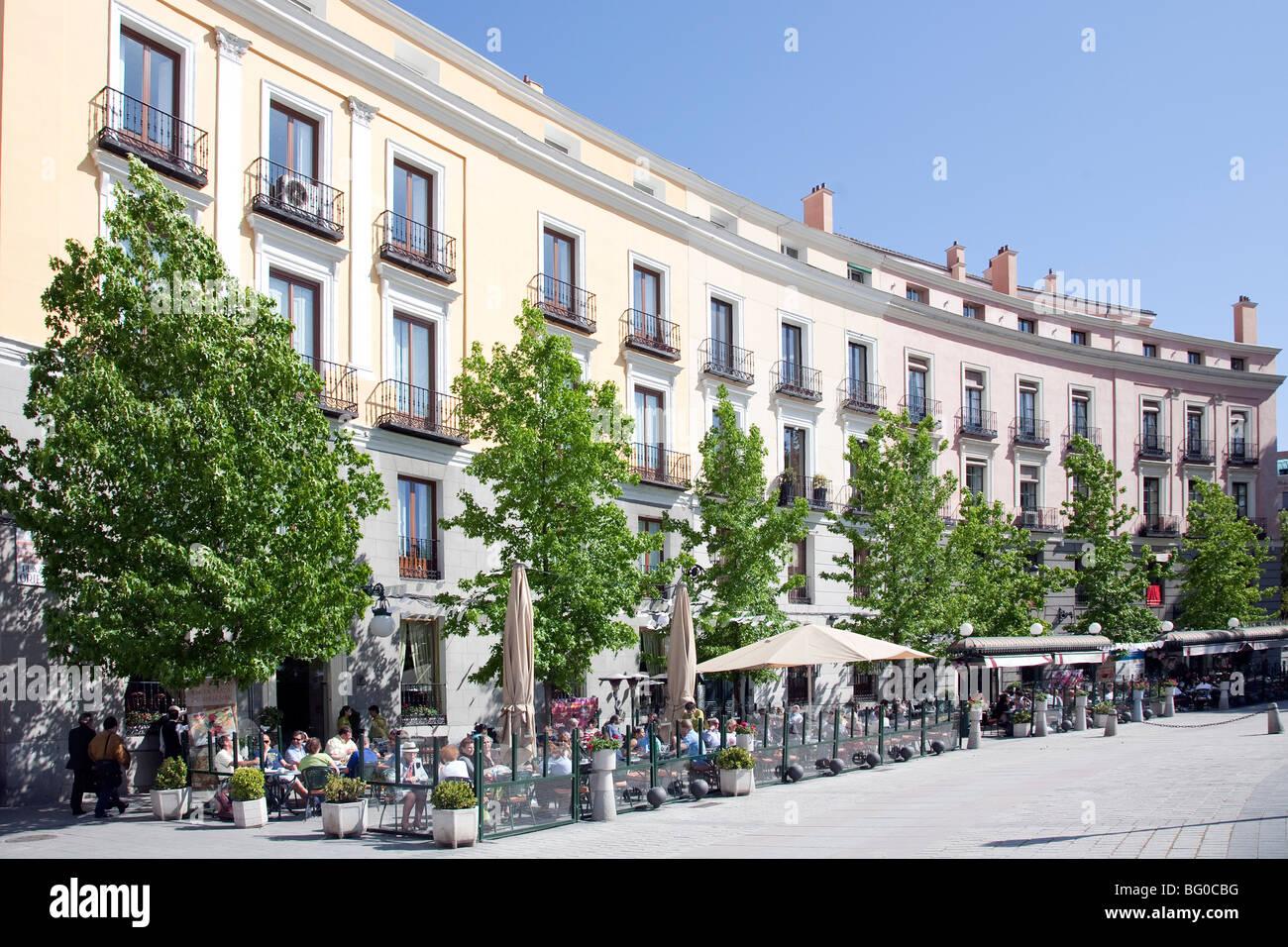 Sidewalk cafe in front of a building, Plaza de Oriente, Madrid, Spain Stock Photo