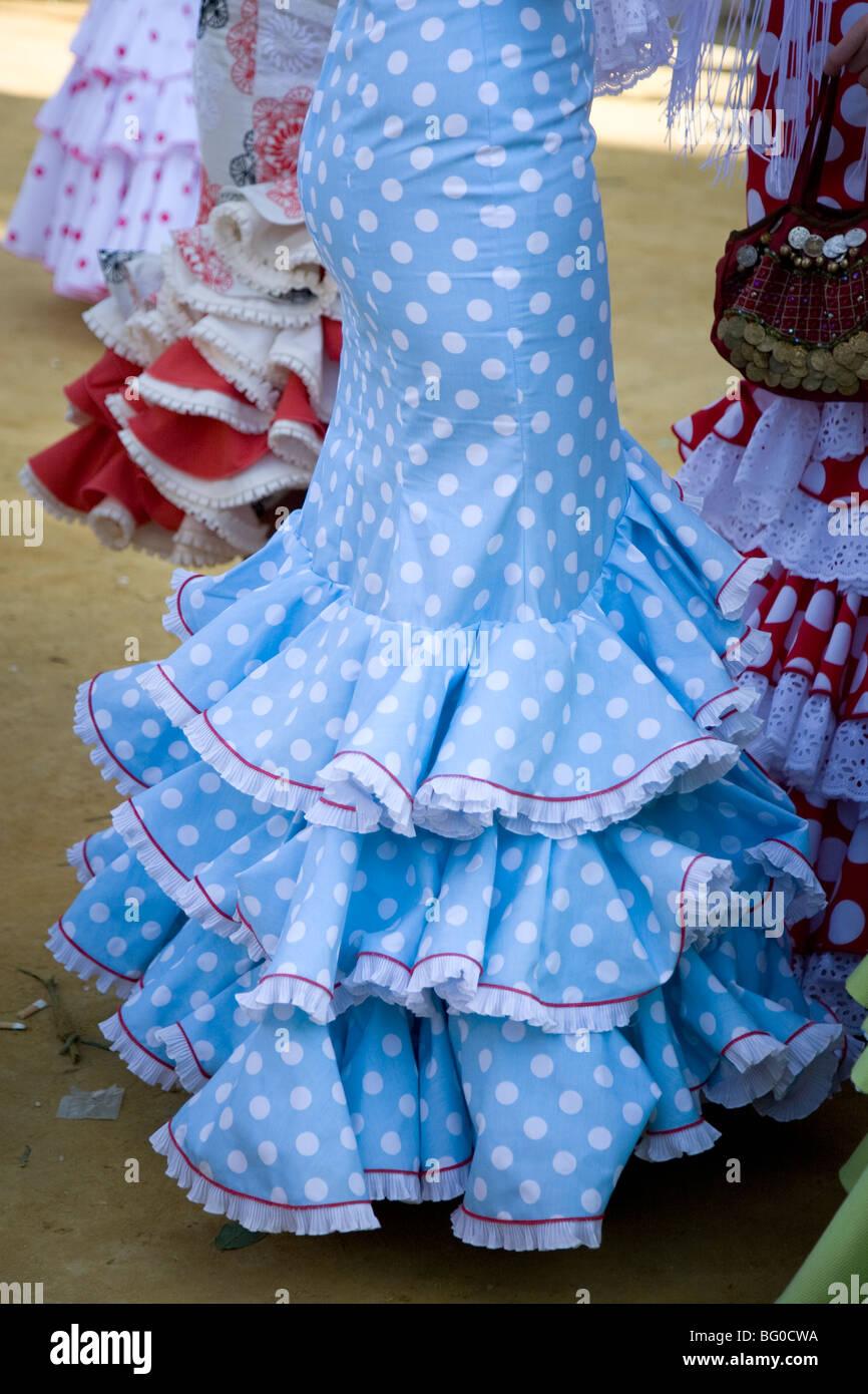 Low section view of Faralaes Dressing, April's Fair, Feria de Abril, Feria de Sevilla,Seville, Andalusia, Spain Stock Photo