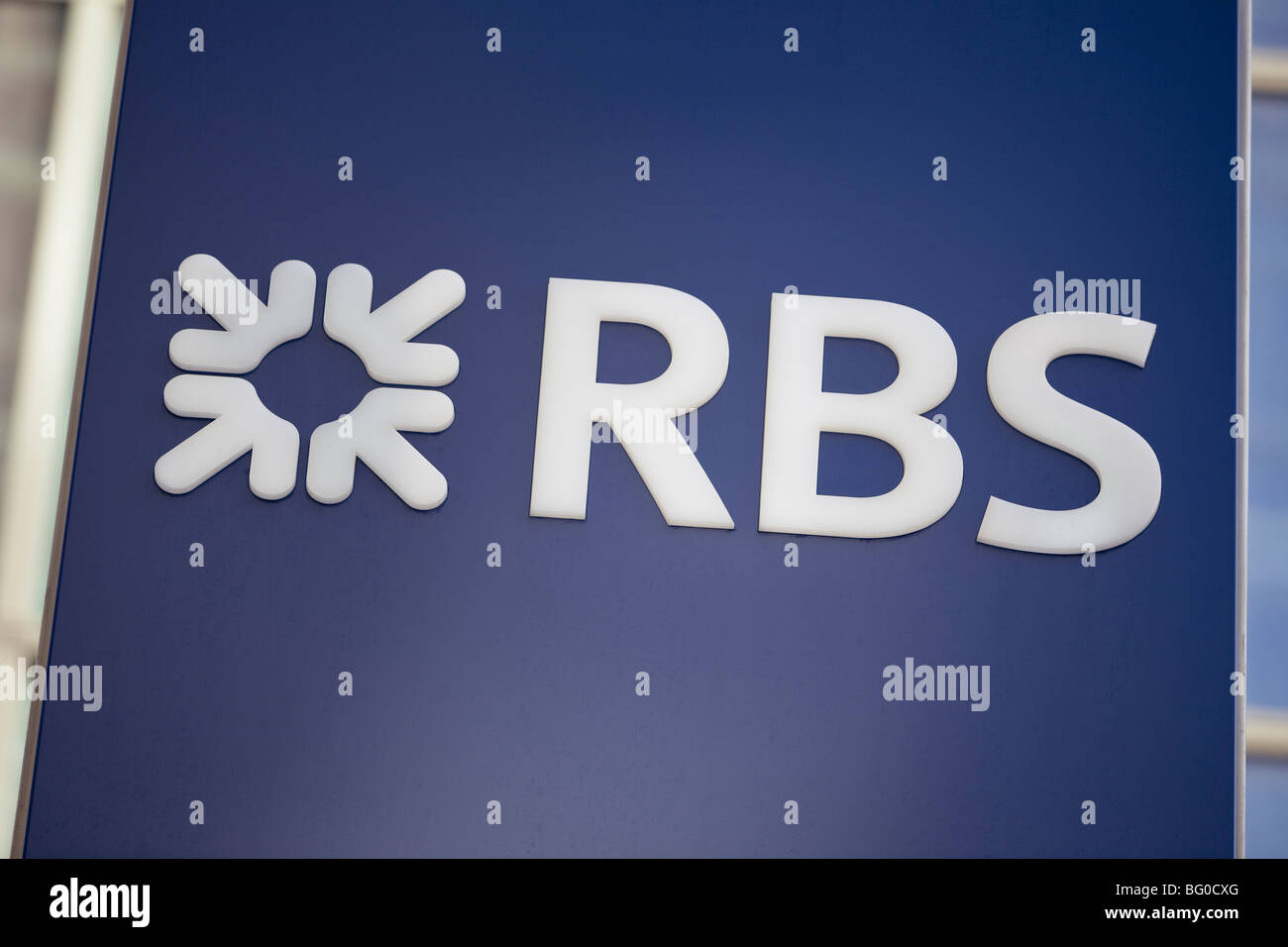 Royal bank of Scotland RBS sign in City of London, London, UK - Stock Image