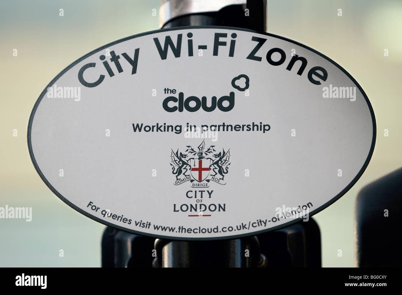 The cloud wi fi zone sign, London, UK - Stock Image