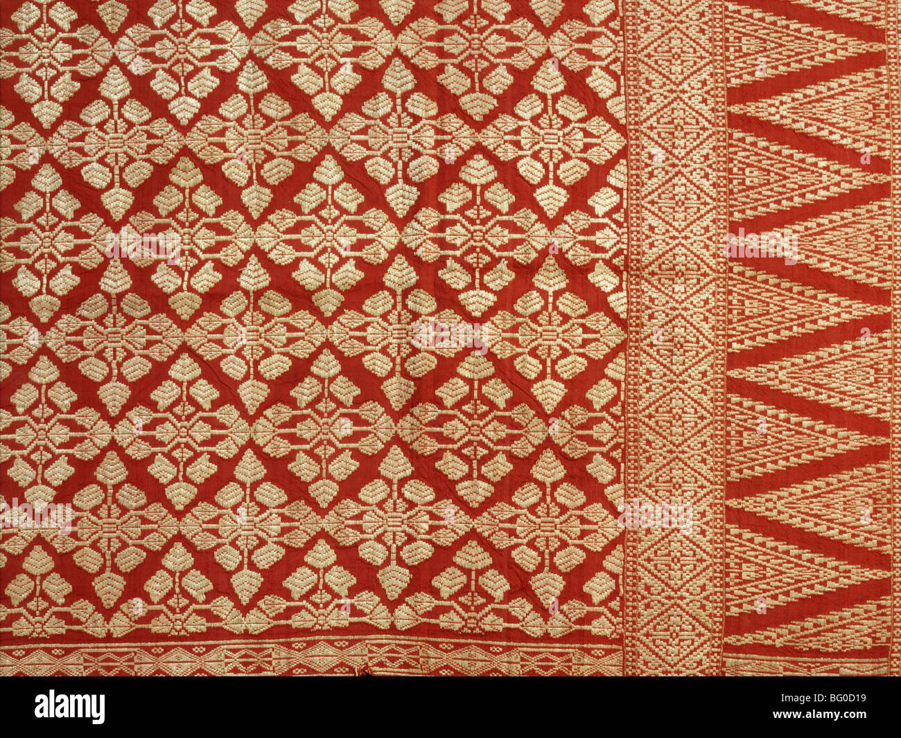 Gold-thread emboidered textile of Malaysia, Southeast Asia, Asia - Stock Image