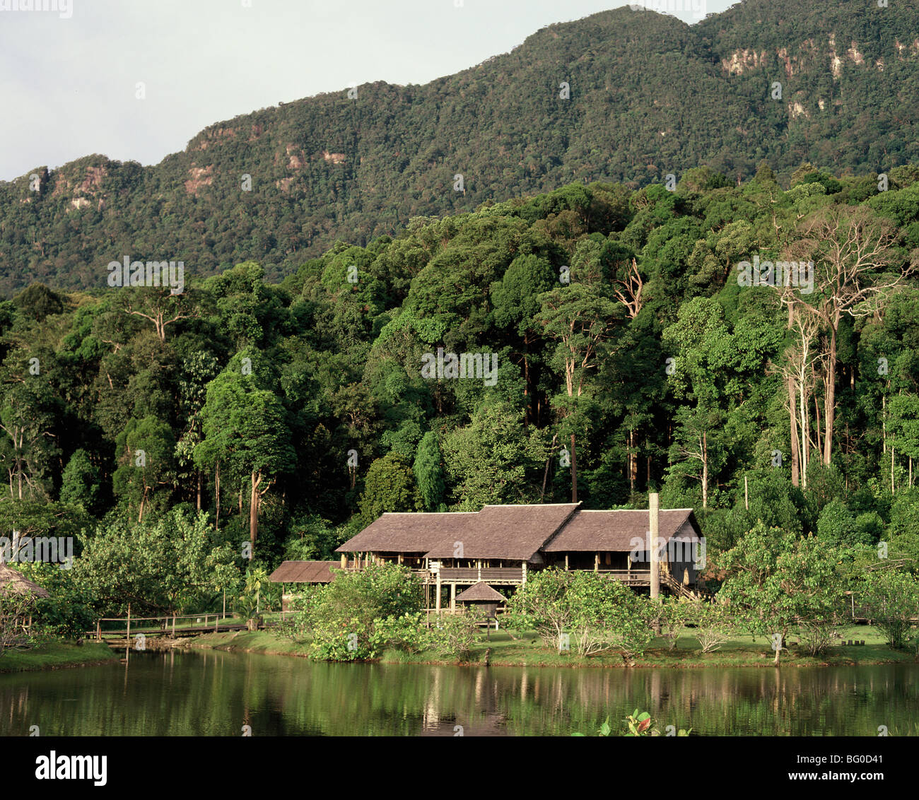 Orang Ulu longhouse sits amidst the immense forest in Sarawak, Borneo, Malaysia, Southeast Asia, Asia - Stock Image