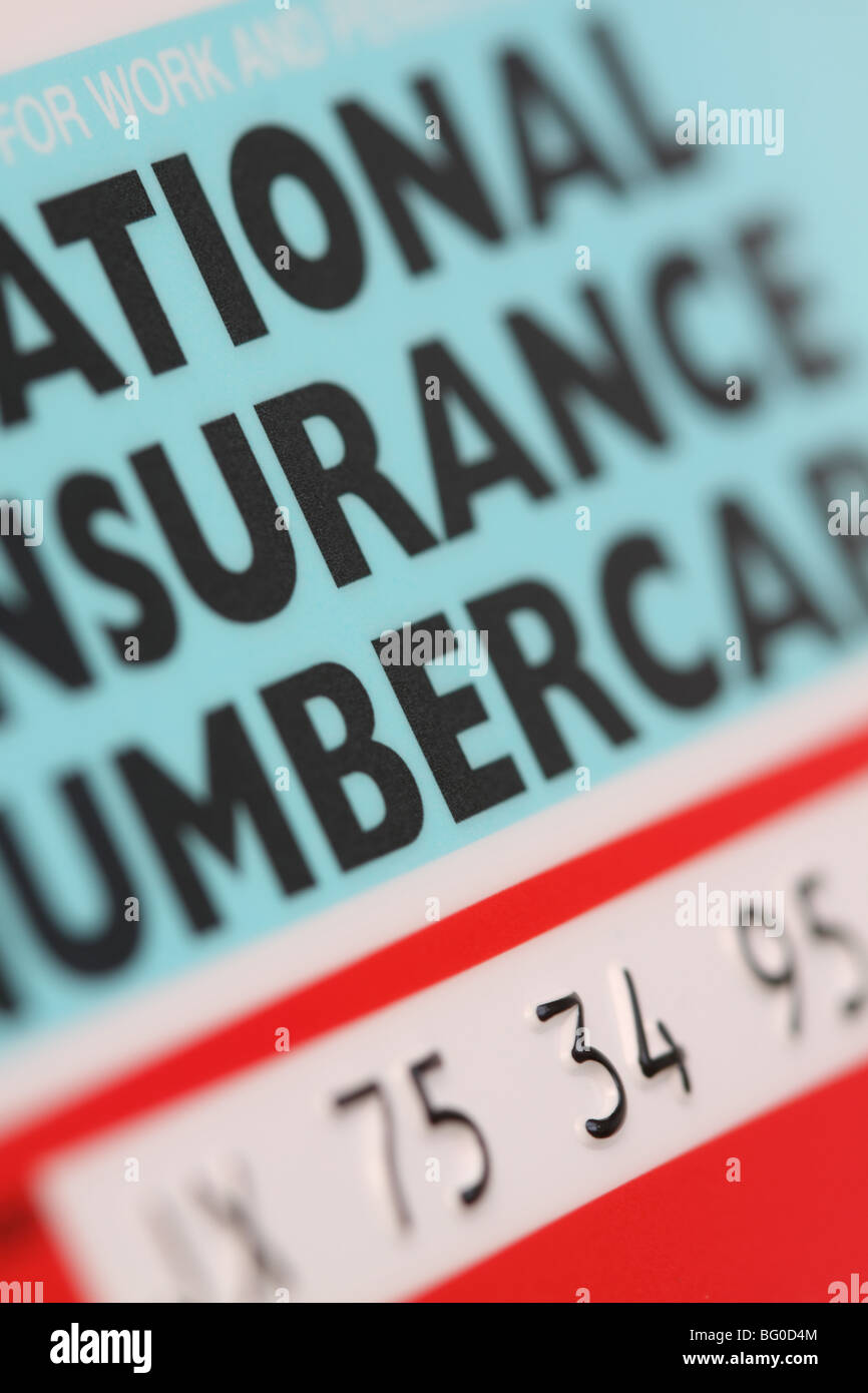 Print National Insurance Number >> National Insurance Number Card Ni Number For Gb Uk Stock