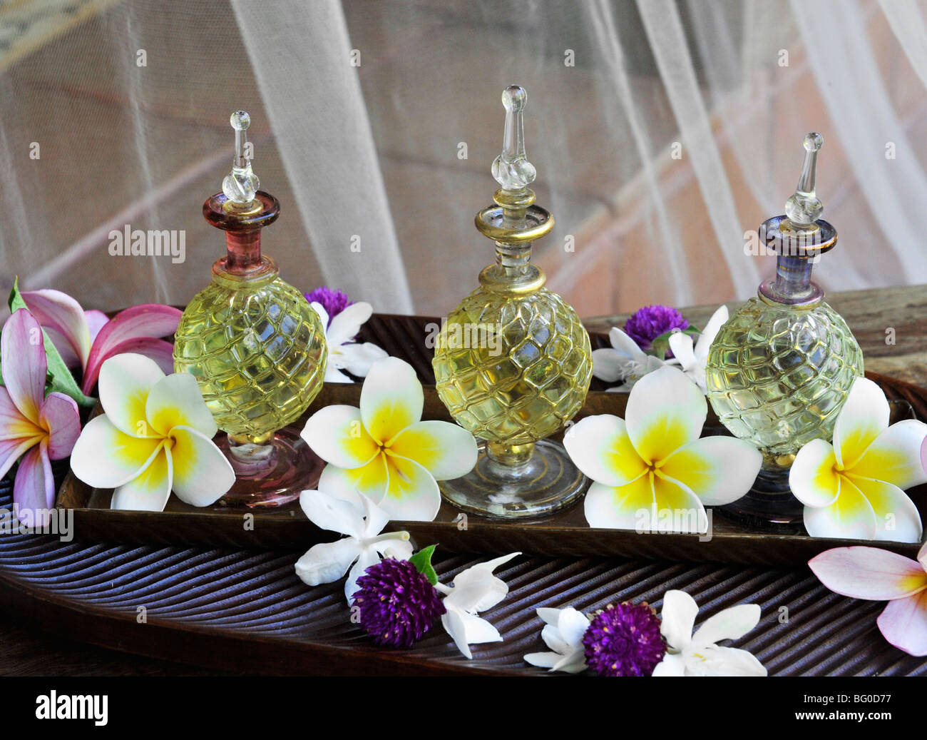 Massage oil bottles - Stock Image