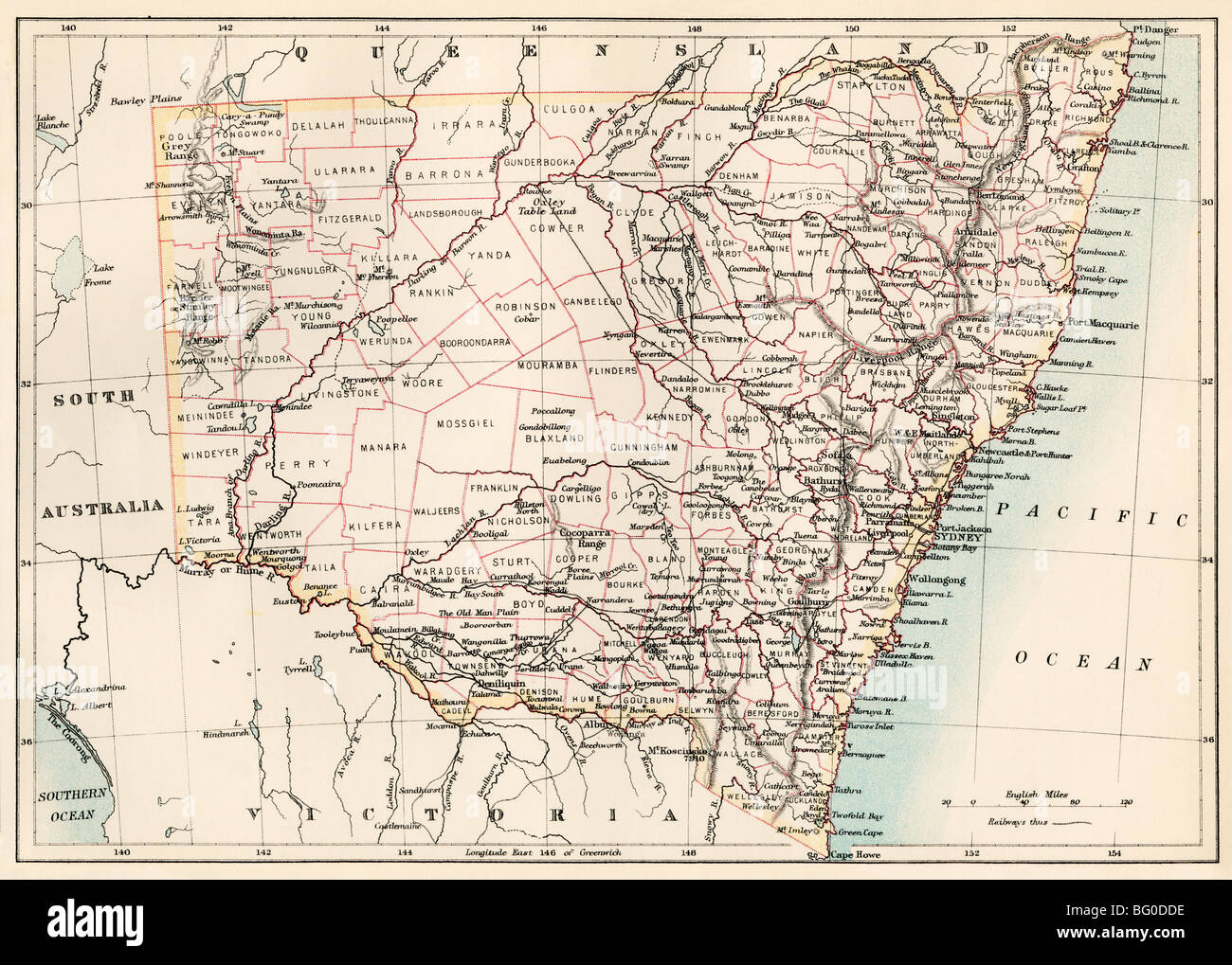 Map of New South Wales, Australia, 1870s. Color lithograph - Stock Image