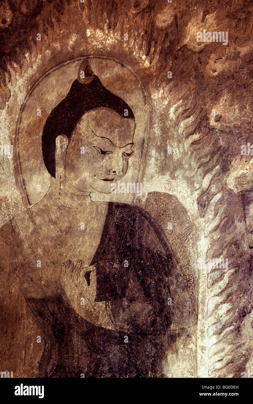 Buddha with his left hand in the Vitarka Mudra in Thambula Temple, dating from the 13th century, Pagan (Bagan), - Stock Image