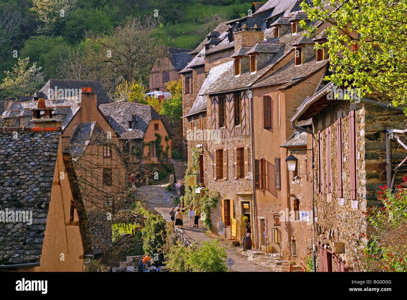 When the tourists have gone. The old pilgrimage town of Conques in France in the early evening. - Stock Image