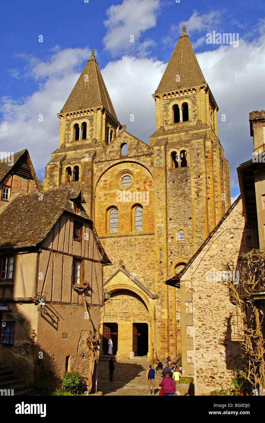 The old pilgrimage town of Conques in France, and the Abbey Church of Sainte Foy. - Stock Image