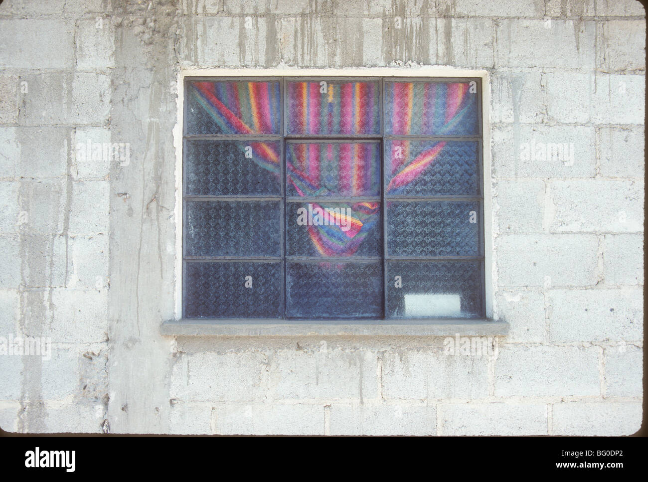 Window and curtains in Santiago Atitlan, Guatemala - Stock Image