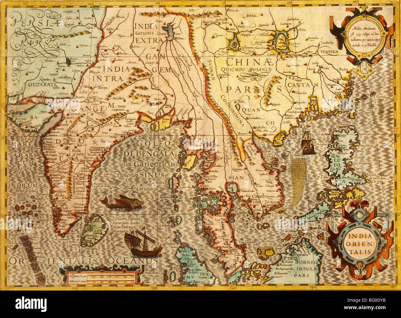 Old Map of Asia - Stock Image