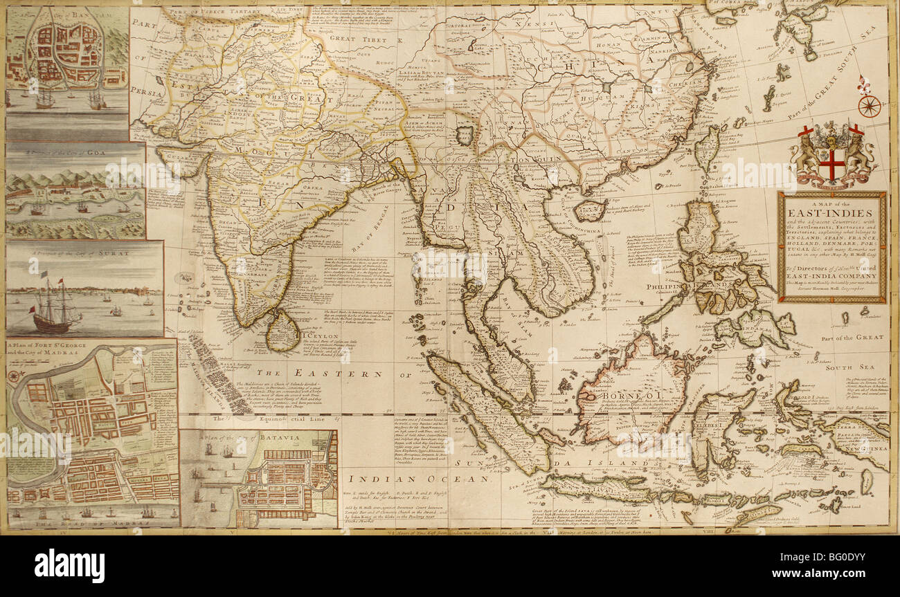 Old Map of East Indies, Asia - Stock Image