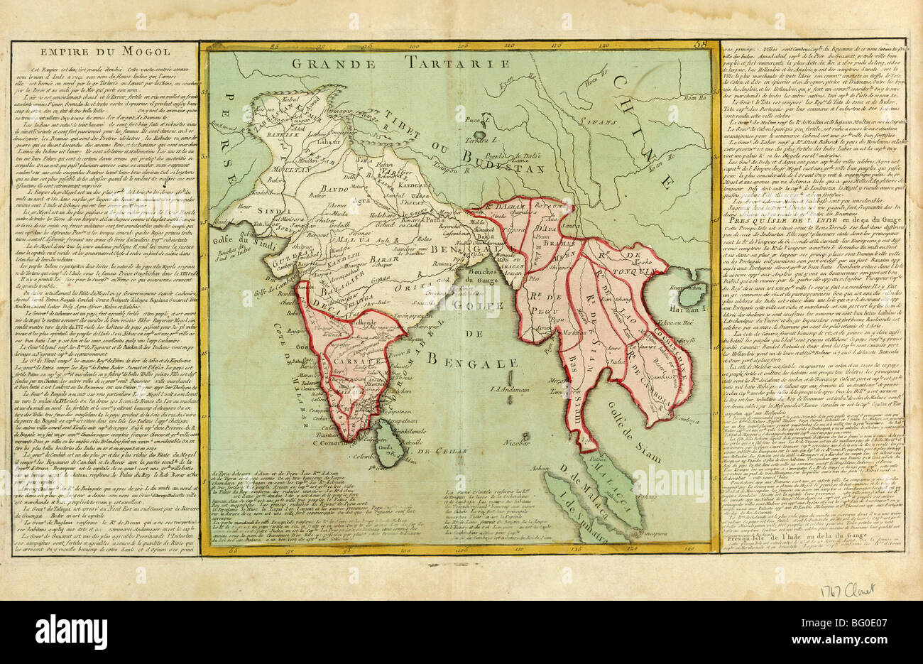 Old Map of India and Southeast Asia, Asia - Stock Image