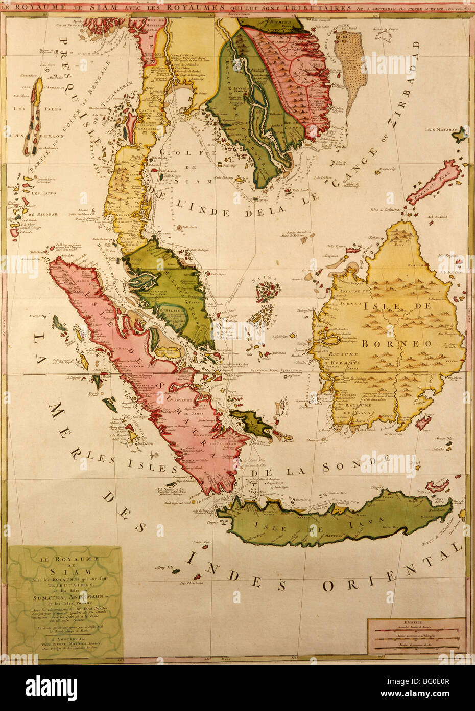 Old Map of Southeast Asia, Asia - Stock Image