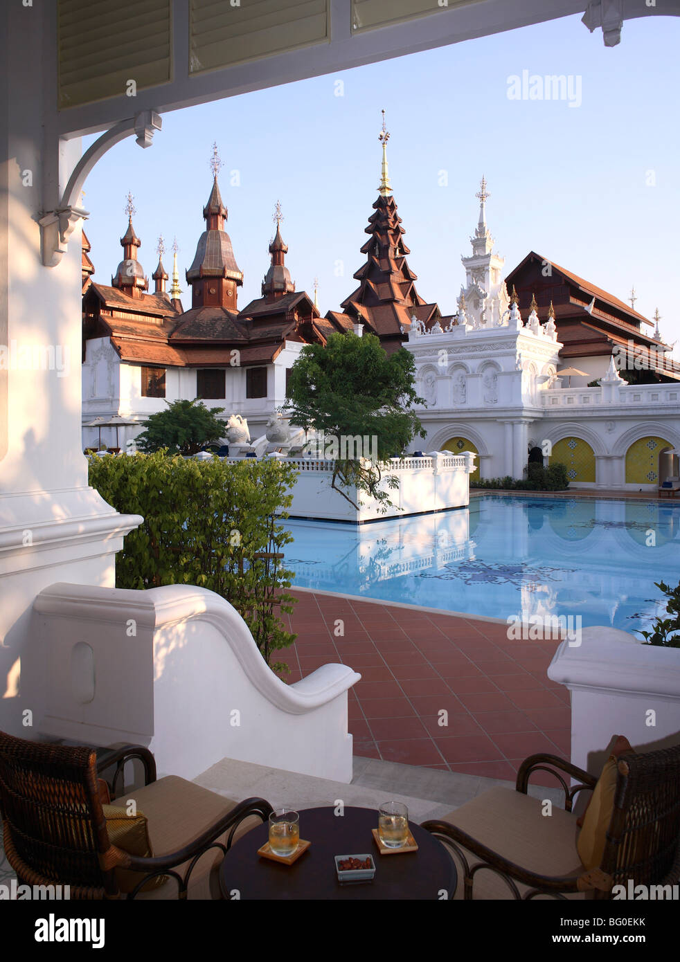 Pool at the Mandarin Oriental Dhara Dhevi Hotel in Chiang Mai, Thailand, Southeast Asia, Asia - Stock Image