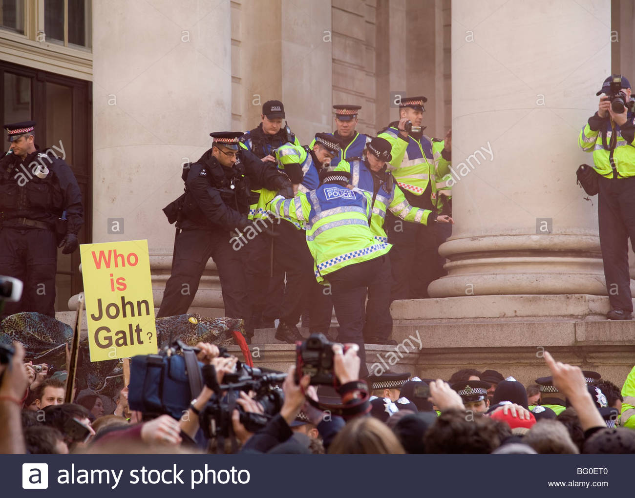 Anti-Capitalist protesters march in the City of London for the G20 Summit 2009 - Stock Image